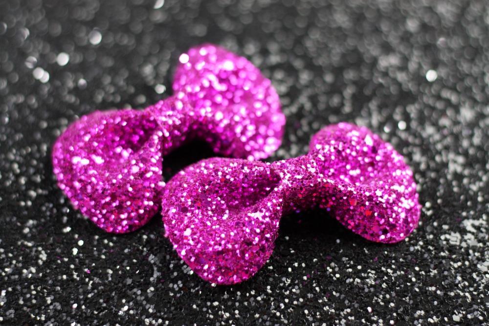 Hot Pink Hair Bow Clips Glitter Accessories Cute Kawaii Bows
