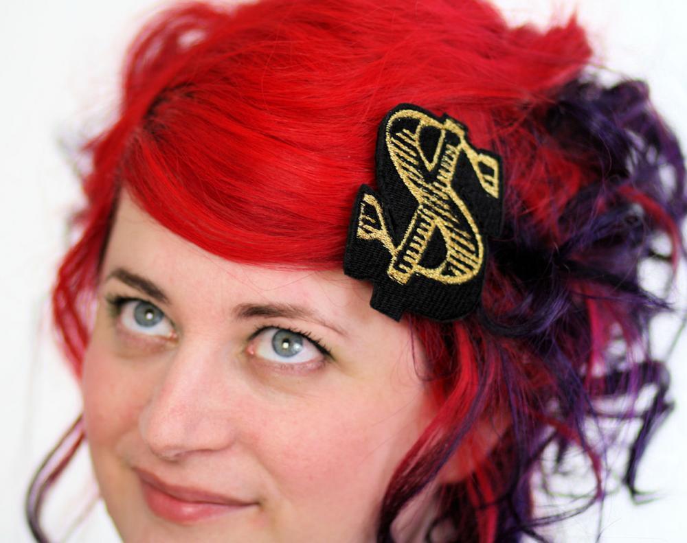 Gold Dollar Hair Clip, Money, Hair barrette