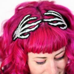 Skeleton Hands Headband, Wired Hair Band, Grey and White embroidered