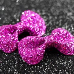 Hot Pink Hair Bow Clips, Glitter, Hair Accessories, Cute Kawaii Bows
